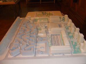Maquette et plan masse du projet d'aménagement ''Gare des Mines'' - photos ASA PNE 18 (juillet 2013)