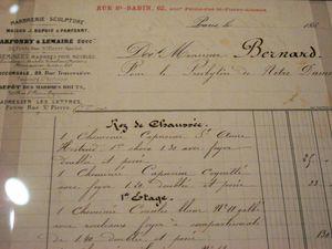 Facture de l'entreprise PARFONRY et LEMAIRE adressée à Monsieur BERNARD du Presbytère de N-D de Paris