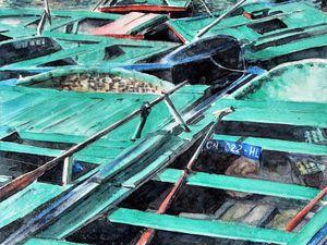 """""""Barques en baie d'Along"""" (38 x 63) et """"Promenade dans les allées du temple"""" (42 x 62)"""