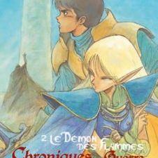Les Chroniques de la Guerre de Lodoss - Ryo MIZUNO &#x3B; La sorcière grise (Lodoss to Senki, 1988) &#x3B; Le Démon des Flammes (Honoo no Majin, 1989) &#x3B; Le sceptre de domination (Karyuzan no Maryu 1, 1990) &#x3B; La Montagne du Dragon de Feu (Karyuzan no Maryu 2, 1990) &#x3B; traduction de Christèle DUFRAISSE, Yukio REUTER et Laurence POYER, illustration de Yutaka IZUBUCHI, Calmann-Lévy / Kaze, 2006, 2007 et 2009, 160 à 240 pages