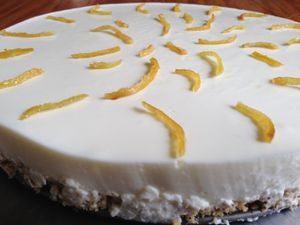 part de cheesecake - le gâteau fini - zestes de citron