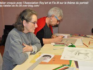 Les artistes de l'Atelier de Flo.M sur l'étude du Portrait de Base