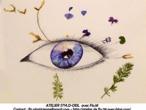 Les dessins de chaque oeil au stylo bille + collage terminés