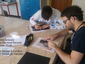 Dessin préparatoire et gravure sur plaque de rénalhon