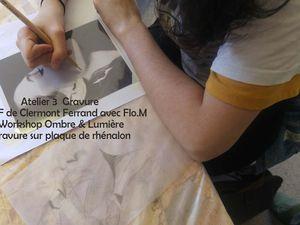 Dessin préparatoire et gravure avec pointe sèche sur plaque de rhénalon