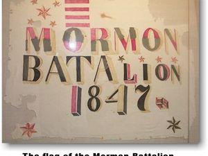 le drapeau du bataillon mormon, une évocation du bataillon Mormon par George Ottinger et le monument dédié au bataillon Mormon dans le parc du Presidio à San Diégo