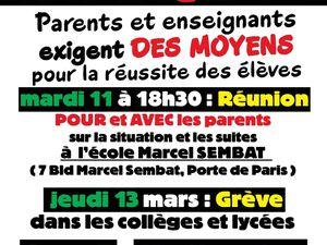 Réunion de ville parents-enseignants MARDI 11 mars à 18h30 école Sembat concernant la mobilisation pour des MOYENS dans les collèges et lycées