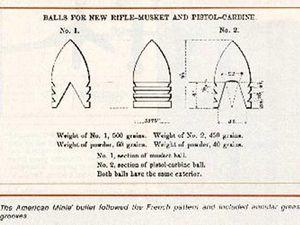 Le modèle américain de la balle Minié se reconnaît par ses trois rayures au lieu de quatre sur le modèle français
