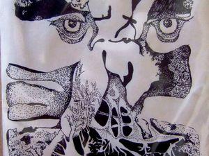 """Ce dessin est fait avec un feutre : là, c'est moi qui devait être"""" torturée"""",( je l'ai fait à l'âge de 16 ans a droite de l' abstrait&#x3B; rien que des traits et des pointillés. .  )"""