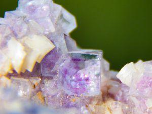 Fluorite (Fluorine) on Dolomite from Shang Bao Mine, Hunan, China (size: Museum)
