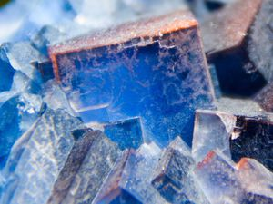 Blue Fluorite (Fluorine) from Galena King Mine, New Mexico (size: Small cabinet)