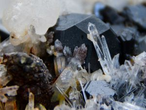 Quartz with Blende, Galène, Calcite from Trepca, Yougoslavie (size: Cabinet)