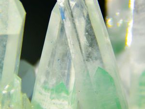 Quartz with green Fantom of fuschite from Anovitra, Ambatonfinandrahana, Fianarantsoa Prov., Madagascar (size: Cabinet)