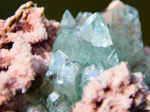 Pointed green Flower Apophyllite on Chalcedony (Calcédoine) from Sawda Mine, Jalgaon, India (size: Cabinet)