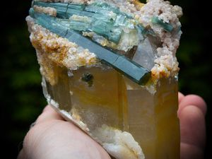 Blue Tourmaline Indicolite on Quartz from Doce Valley, Minas Gerais, Brazil (size: Cabinet)