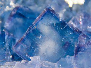 Blue Fluorite (Fluorine) from La Viesca, Asturias, Spain (Espagne) (size: Museum)