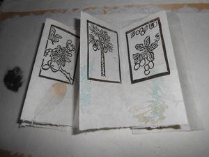Papier de champignon et de chanvre teint au tanin d'amadouvier, papier japon pour le blanc (en cours d'élaboration)