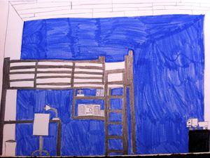 """""""Je dessine ma chambre""""...Crayon puis mise en couleurs libre."""