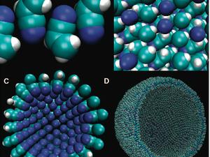 Figure de gauche : Les états de l'acrylonitrile. A : Azotosome, Le blocage mutuel de l'azote et de l'hydrogène renforce la structure. B : Solide. Les atomes d'azote adjacents créent quelques répulsions défavorables. C : Micelle. Les atomes d'azote adjacents rendent la situation très défavorable. D : Le vésicule d'azotome d'un diamètre de 90 A, la taille d'un petit virus. Figure de droite : Les positions de tête de l'azote dans des azotosomes. A : Maillage initial. B : Aminopentane amorphe. C : Pentanenitrile (hexagonal). D : Acrylonitrile (proche d'un rassemblement hexagonal)