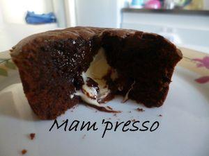 Moelleux chocolat noir, coeur chocolat au lait et blanc