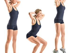 1) 60 jumping jacks,2) 40 crunches,3) 10 sit up,4) 10 triceps dips,5) 20 side lunges(à chaque jambes),6) 15 inclines push up,7) 10 oblique crunches(chaque cotés),8)  30 butt kickers,9) 5 jump squats, 10) 5 jump squats,11) 15 jack knife sit up,