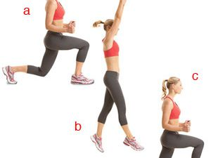 1)jumping jacks,2)tricept dips,3)squats,4)lunges&#x3B;5)crunches,6)russian twists,7)standing calf raises,8)push up,9)plank,10)lunge split jump