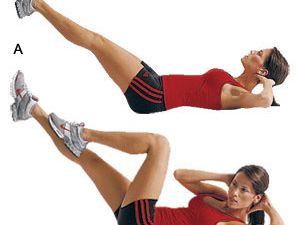 1)jumping jacks,2)vertical leg crunches,3)sit ups,4)squats,5)side legs lunges,6)leg lifts,7)bicycle,8)wall push ups,9)russian twist,10)triceps dips,