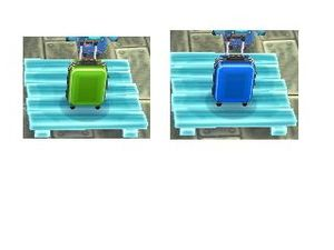 Photo 1 (valise verte, valise bleue), photo 2 (valise jaune, valise rose).