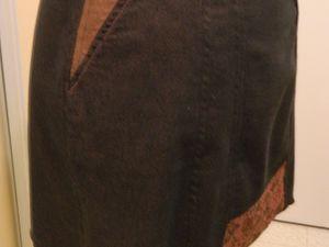 En haut : jupe de face, jupe de face 3/4 côté droit &#x3B; en bas : dos côté gauche , détail de la poche et fermeture éclair côté gauche