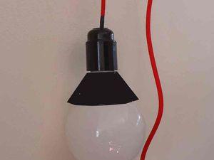 J'imagine de découper un cône couleur rouge ou noire dans un morceau de PVC souple ( un intercallairede classeur par exemple)) pour cacher la partie plastique blanche de l'ampoule