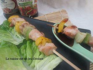 Brochettes de poulet sauce kikkoman