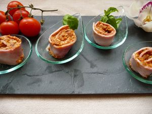 Roulades de jambon au pesto de tomates