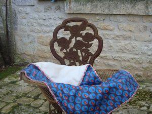 Patchworks de tissus en coton Zoé-crevette & de tissu-doudou