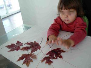 Tableau de feuilles mortes