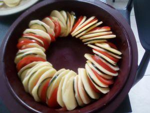 Tian de pommes de terre, tomates, courgettes