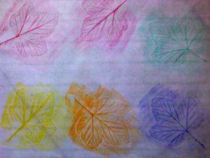 Empreintes de feuilles avec des pastels