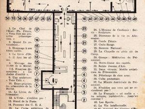Couverture du programme de l'exposition réalisé par Adrien Sénéchal, peintre rémois - Guide de la visite de l'Exposition -