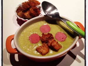 Ma soupe poireaux et petits pois... Idéale avec ce froid froid et pluvieux !