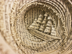 Book Sculpture: Drowning from Obsession