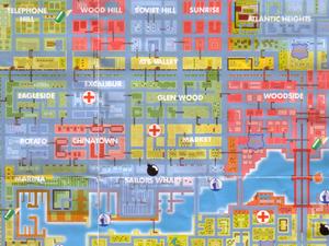 Les 3 maps papier du jeu : Liberty City, Vice City et San Andreas