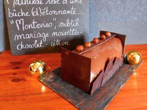 Bûche &quot&#x3B;Monteviso&quot&#x3B; d'après Eric Vergne : Praliné-Noisette et Chocolat-Citron