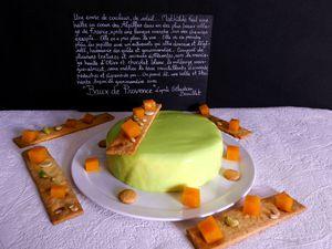 Baux de Provence d'après Sébastien Bouillet : croustillant fruits secs, biscuit amandes, coeur mangue-abricot, mousse chocolat blanc-huile d'olive