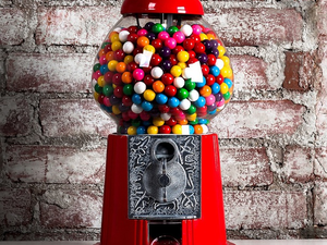 The first gum machines appeared in New York City subways in 1888. And modern bubblegum—sweet, bright, and full of tongue-twisting stretch—was invented by 1928.