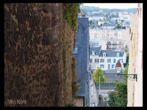 Vue de la place Saint-Michel et de l'escalier des Pans de Gorron