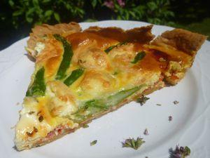 tarte au chabichou,asperges vertes,chorizo