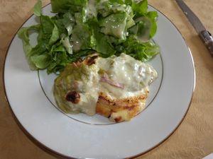 gratin de poireaux/jambon/pdt/raclette
