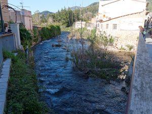 480 mm/m2 au premier trimestre, que d'eau. L'eau roule encore dans le torrent majeur. Vues du Puig Major depuis une rue et un jardin