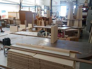 Menuiseries en cours de fabrication pour la Maison du Lac de Saint Cassien
