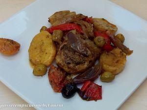 Poulet au four et petits légumes