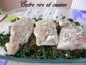 Filets de Cabillaud aux Epinards, sauce au Muscat